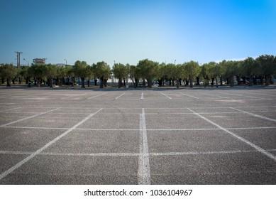Empty car parking area in Rafina city, Greece