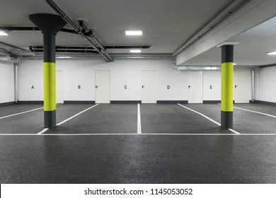 Empty car parking, new interiors spaces