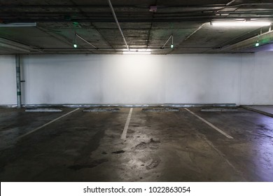 Empty car parking lot space interior background