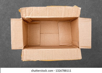Empty cardboard box close-up.