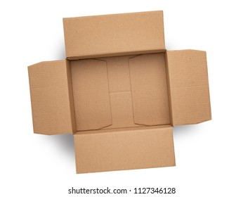 empty cardboard box on top isolated on white