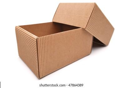 Empty cardboard box on a white background