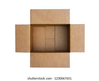 An empty cardboard box shot from above.