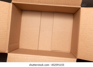 Empty cardboard box top view