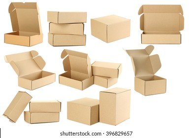 Empty cardboard boxes isolated on a white, collage
