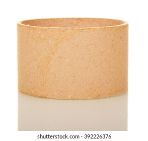 Empty cardboard tube isolated on white background.