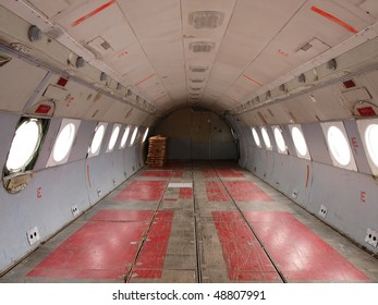 empty cargo hold of old plane