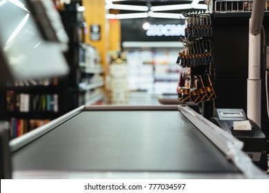 Empty cashier counter at the supermarket