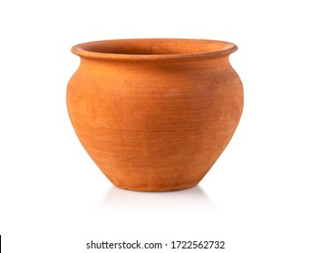 Empty ceramic brown flower pot isolated over the white background with clipping path