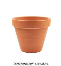 Empty ceramic brown flower pot isolated over the white background