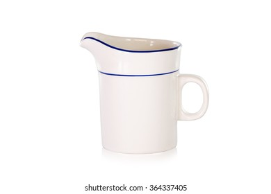The empty ceramic cup on white background