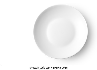 Empty ceramic dish isolated on white background. Top view.
