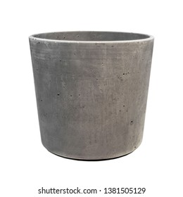Empty ceramic gray flower pot isolated over the white background. Grey flowerpot.