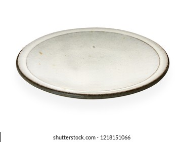 Empty ceramic plate with brown edge, White round plate isolated on white background with clipping path, Side view