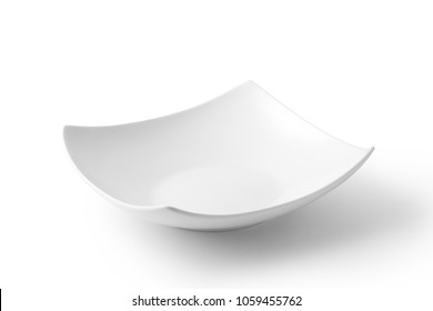 Empty ceramic plate on white background