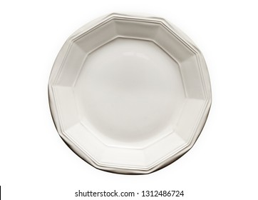 Empty ceramic plate with pattern edge, White round plate with decagon rim, View from above isolated on white background with clipping path
