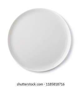 Empty ceramic plate of white color, top view of an isolated object