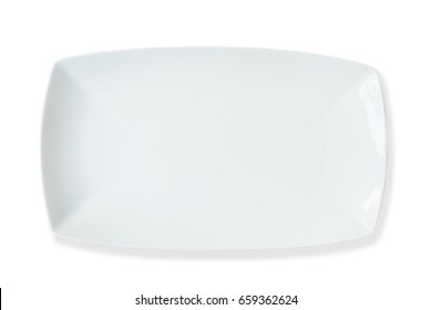 Empty ceramic rectangle dish, isolated on white background with clipping path