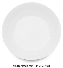 Empty ceramics plate isolated on white background with clipping path.