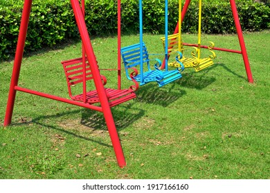 Empty chain swing seat in playground