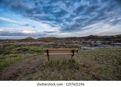 Empty chair in the Alberta badlands
