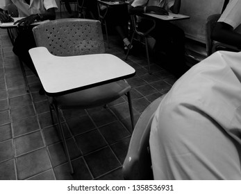 An empty chair of the exam room of the college. Students in the absence of a competitive examination.