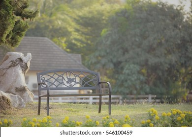 empty chair in nature with vintage toned style