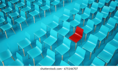 Empty chair rows, 3D illustration