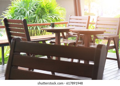 Empty Chair and tables in outdoor at cafe
