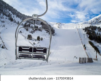 Empty chairlift at Vallter 2000 ski resort (Girona - Spain)