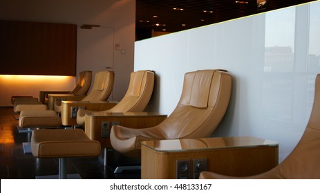 Empty chairs in a first class lounge at the airport