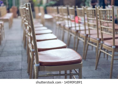 A lot of empty chais in ceremony party arrange with roll and orderliness
