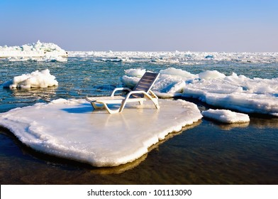 Empty chaise lounge on the ice floe