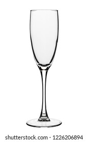 empty champagne glass isolated on white background. clipping path