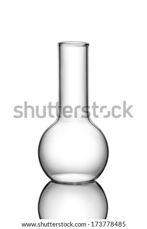 Empty chemistry flask on white
