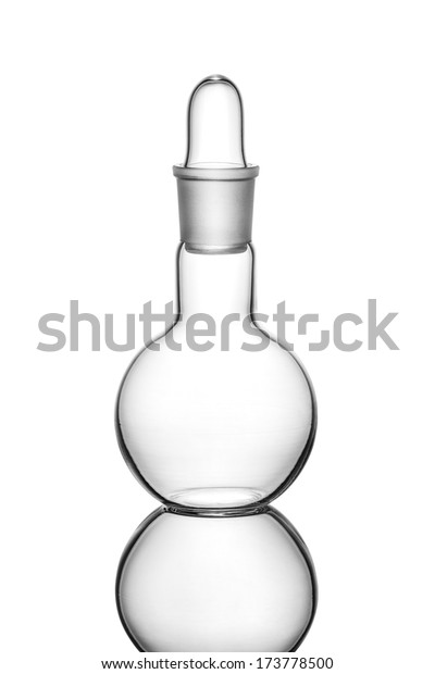 Empty chemistry flask on white