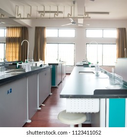empty chemistry laboratory in a middle school in China.