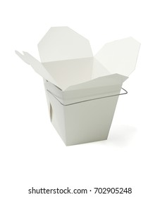 Empty Chinese Takeaway Food Containers on White Background