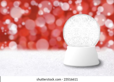 Empty Christmas Snow Globe With Blue Holiday Background. Insert Your Own Image or Text