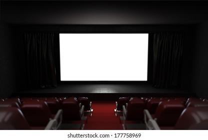 empty cinema auditorium with blank screen frame illustration