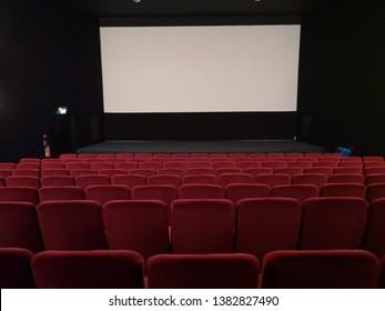 Empty cinema with blank screen