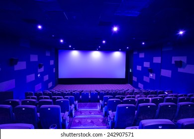 Empty cinema screen with audience. material for designers
