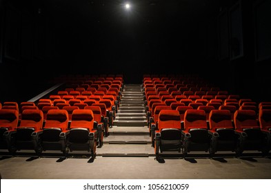 empty Cinema theatre with red comfortable chair