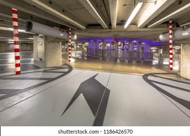 Empty circular parking garage ramp in a shopping mall