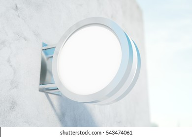 Empty circular stopper on concrete building. Advertisement concept. Mock up, 3D Rendering