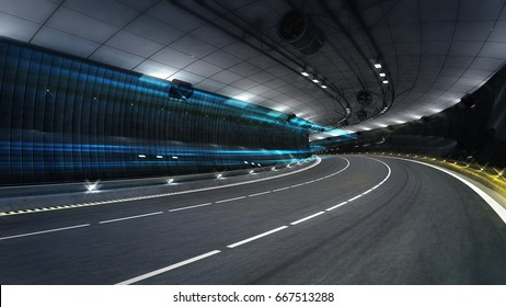 empty city freeway tunnel with spotlights, transportation theme 3D illustration rendering
