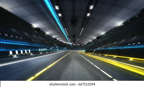 empty city highway tunnel with spotlights, transportation theme 3D illustration rendering