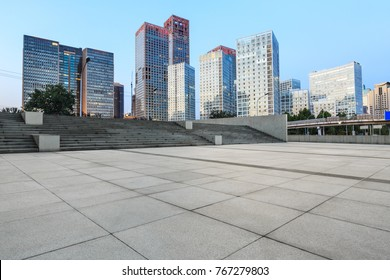 Empty city square road and modern business district office buildings in Beijing,China