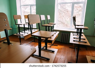 Empty class in a public high school in a Eastern Europe, Republic of Moldova