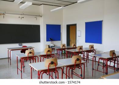 Empty class room in secondary Danish school.